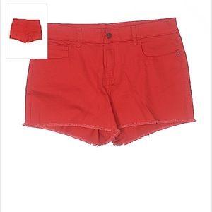 Mid-rise Solid Red Women's Boyfriend Jean Shorts